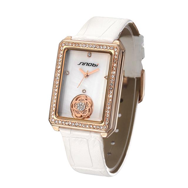 Brand SINOBI 9519 square face flower dial elegance white diamond watch