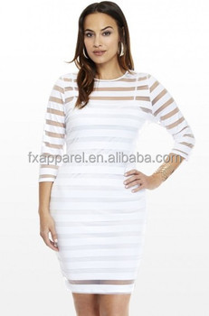 White Stripes Sheer Outside Skirt Mini Dress Plus Size Fashion Big Women  Dress - Buy One Piece Black Stripes Sheer Outside Skirt,Xl-4xl Dress,Mini  ...