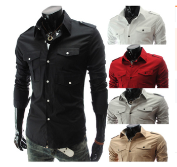 Custom Mens Shirts Casual Slim Fit Stylish Mens Dress Shirts With Two Pocket wholesale t shirts