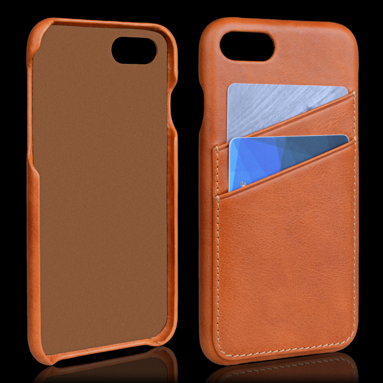 Back cover genuine card holder cowhide leather phone case for iPhone 8
