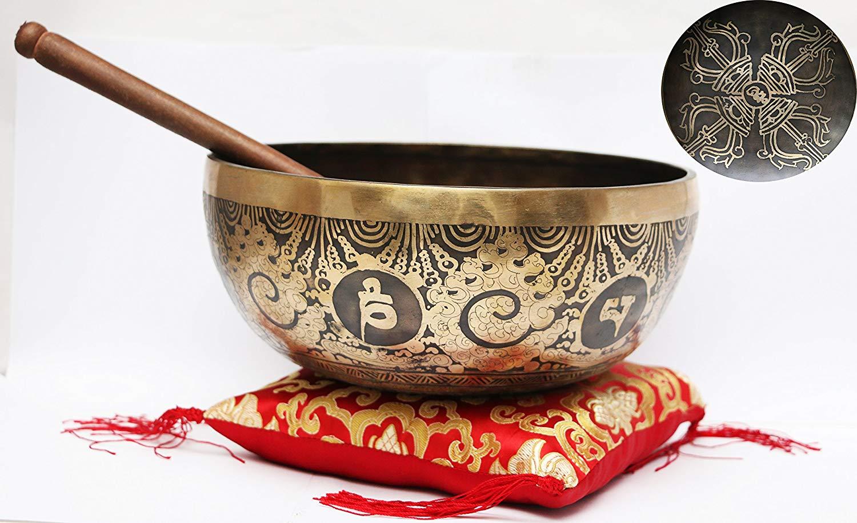 Hand Hammered B Crown Chakra Tibetan Meditation Yoga Singing Bowl Set