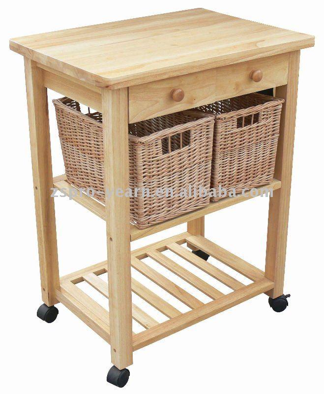 Muebles de cocina de madera carrito carrito de servicio for Carrito cocina madera