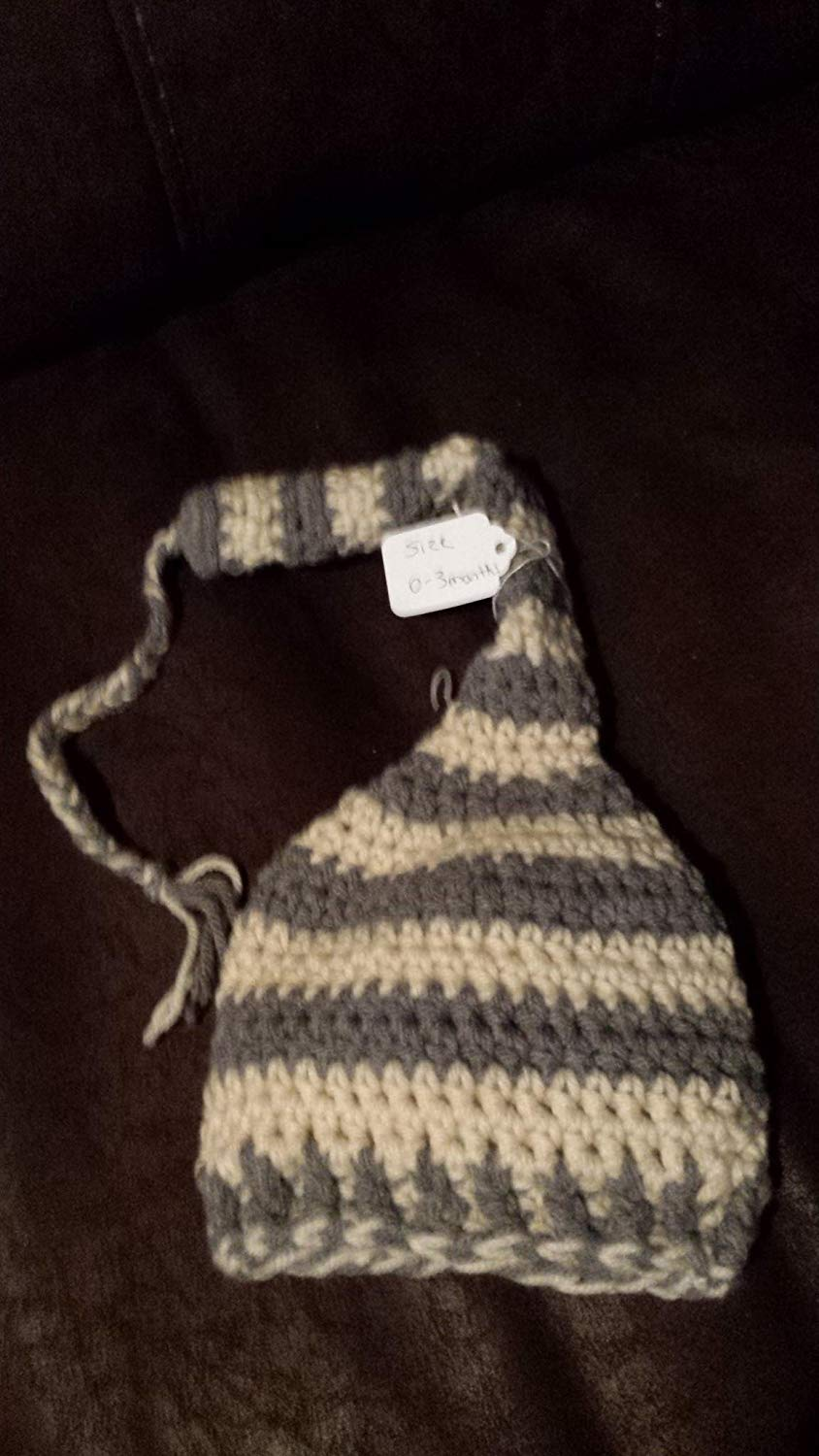 916f7f9daf9 Get Quotations · Elf style braided tail stocking hat for baby. SIZE 0 to 3  months. Grey