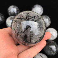 Natural Black Tourmaline Ball Quartz Crystal Stone Spheres For Sale