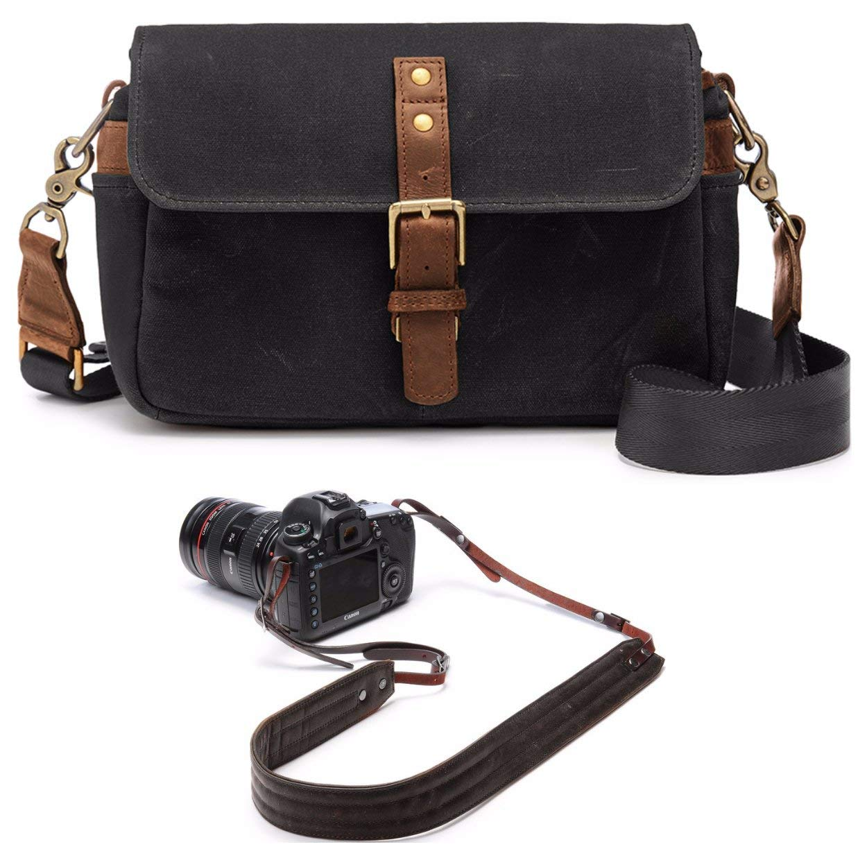 0e88541d74 Ona The Bowery - Camera Bag - Black Waxed Canvas (ONA5-014BL) and Presidio  Crossbody Leather Camera Strap