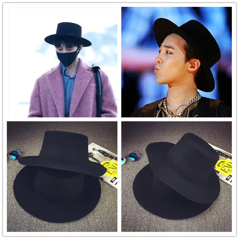 Wholesale-Black Fedora Hat 2015 Trendy Gilt Letters Winter 100% Wool ... 0647be32c70