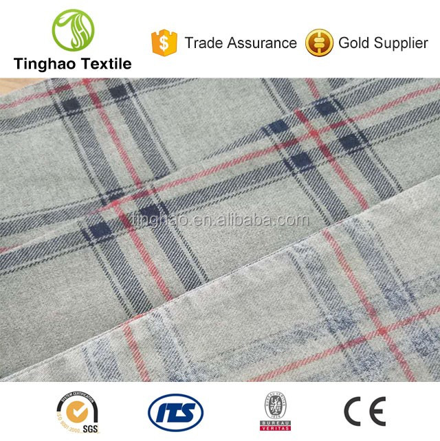 Custom yarn dyed 100% cotton check shirting fabric supplier