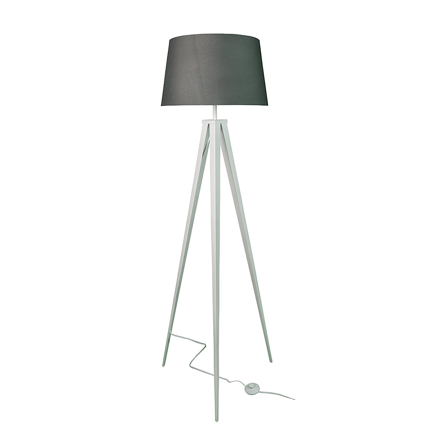 Euro Style Collection Berlin Floor Lamp w/Fabric Lampshade (Tall) Modern, Minimalist Tripod Standing Light | Living Room, Bedroom, Office (White-Grey)