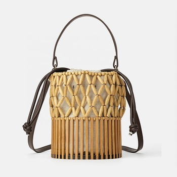 Metro city beige women female bamboo barrel bead bucket shape tote beach basket bag