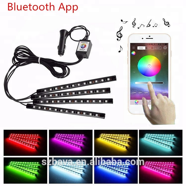 Bluetooth App remote color changing 48pcs rgb led strip car light for interior atmosphere lighting