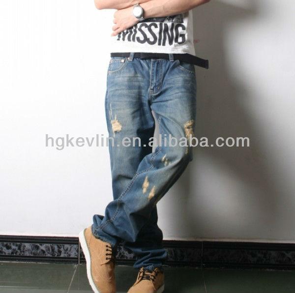 Men's Korean Style Baggy Hot Hip Hop Designer Ripped Jeans - Buy ...