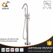 Artisan Single Handle Freestanding Contemporary Floor Mount Tub Filler with Hand Shower, Chrome