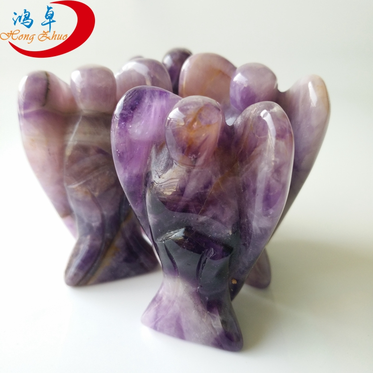 Hot selling machine gemstone carved angels star purple amethyst for crafts