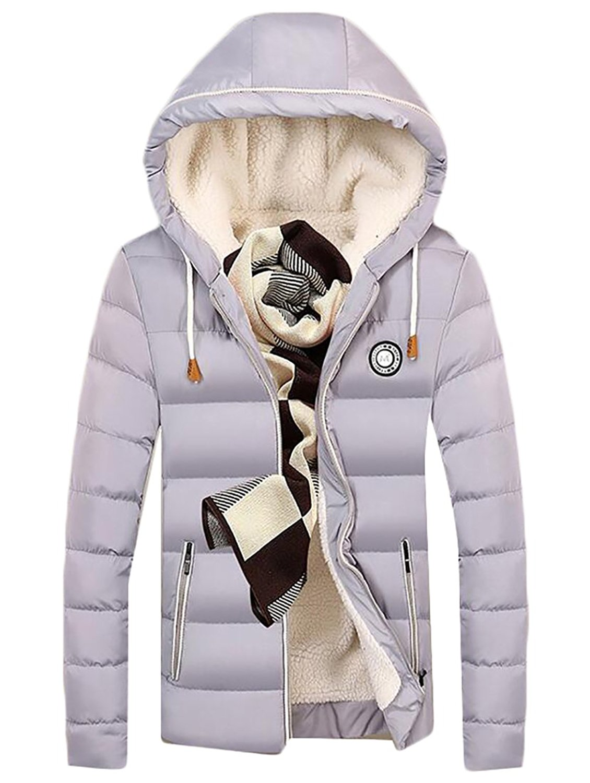 Pivaconis Mens Thicken Outdoor Hooded Linen Fleece Zip-Up Long Down Jacket