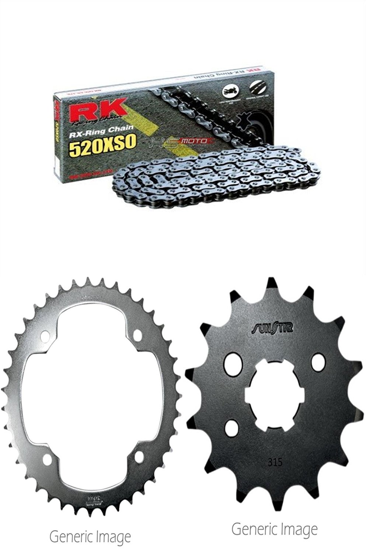 RK RX-Ring Chain 520XSO, SUNSTAR Front & Rear Steel Sprocket Kit for ATV/UTV YAMAHA YFM350R Raptor 2004-2013
