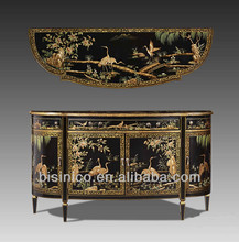 Antique Chinoiserie Style Wooden Decorative Furniture,Floral Hand Painted Console Table,Sideboard,Storage Cabinet