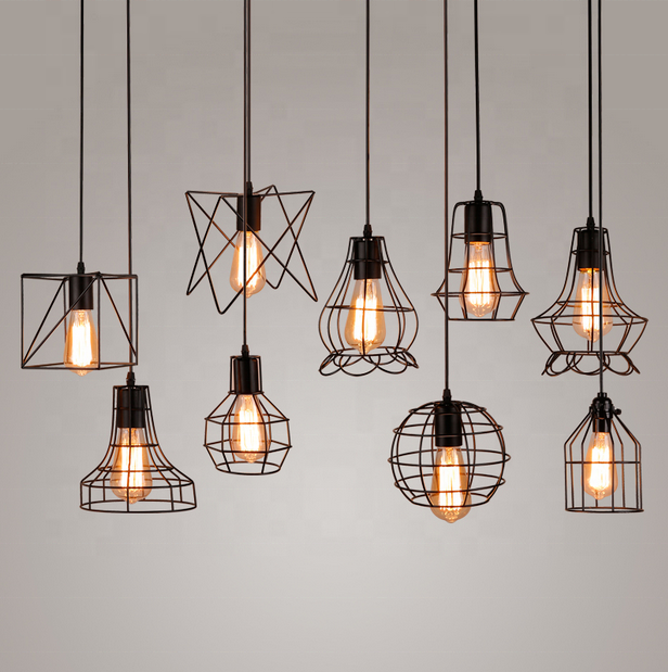 Iron Cage Hanging Pendant <strong>Lights</strong> 110V-240V E27 E26 Black Painted 8 Type Nordic Vintage Lamp For Dining Room <strong>Light</strong> Fixtures