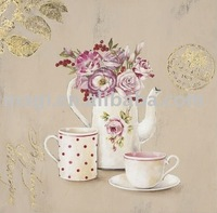 Coffee with Flower Canvas Flower Oil Painting