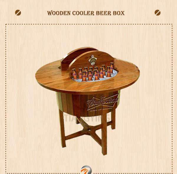Outdoor Ice Wood Cooler Box, Wooden Cooler Table