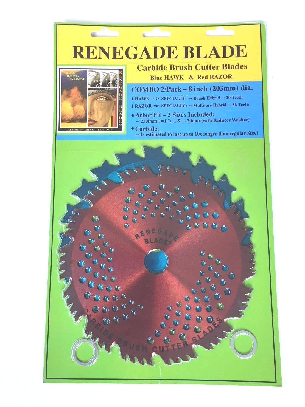 "Renegade Blade 2pk-8""-20t/56t Combo Pack - (1) 20 Teeth Blue Hawk (1) 56 Teeth red Razor - Hybrid Pack GS1 Barcoded Shelf Hanging Blister Pack- Carbide Brush Cutter Blades, 203mm Dia."