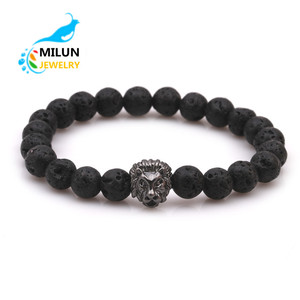 Wholesale Fashion Men Bracelet Stretch Bracelet Copper Lion Head Bead Bracelet