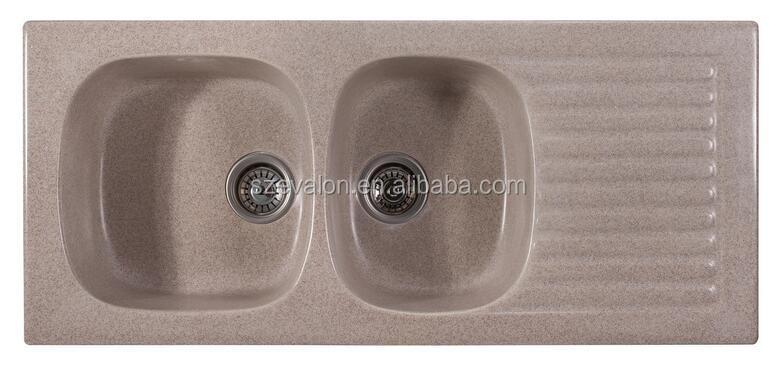 Moderne keuken dubbele kom onderbouw composiet graniet gootsteen spoelbakken product id - Rechthoekige gootsteen ...