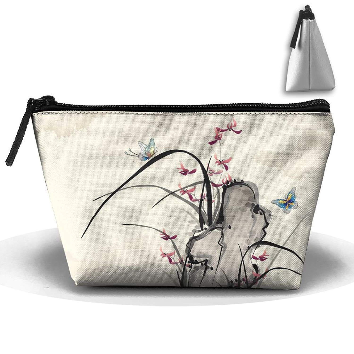 Get Quotations · Makeup Bag Trapezoidal Storage Bag Butterfly Flower  Portable Cosmetic Bag Ladies Mobile Travel Bag 2f2023749561e