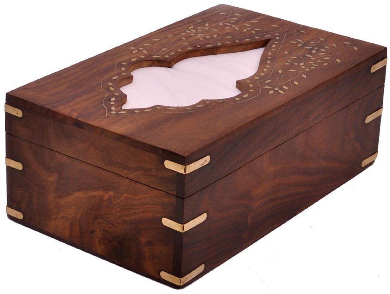 The StoreKing Wooden Handmade Rectangular Wooden Tissue Box Cover Dispenser with Decorative Brass Inlay- Artisan-Crafted Elegant Wooden Tissue Holder, Tissue Organizer, Tissue Dispenser