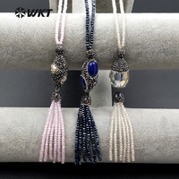 WT-NV162 New Design WKT Wholesale Special Beads Necklace With Gemstone Beads Necklace Custom Rhinestone Pave Tassel Necklace