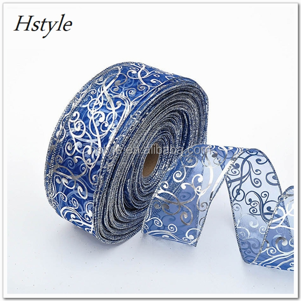 "6.3cmx200cm (2.48""x200"") New Christmas Ribbons Xmas Silver Blue Decorations Ribbon Party Supplies Gift Wrapping SD459"