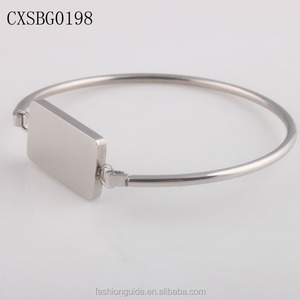 New Arrival Women's Stainless Steel Blank Stamping Bangle