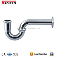 Brass or stainless steel P and S water trap for basin with cleanout chrome plated