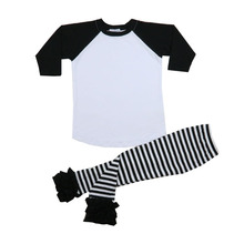 Boys Clothing Sets Kids spring long sleeve regan shirt icing pants cotton knit black stripe best Clothes Kids Boys