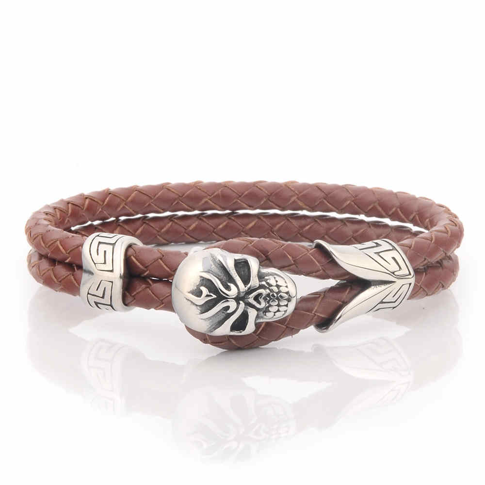 New Products 2016 Mens Brown Braided Leather Skull Fashion Bracelet