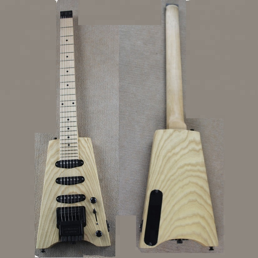 Weifang rebon white ash Headless Electric guitar in wood colour