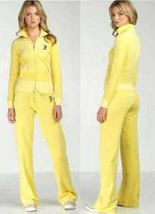 2015 OEM/ODM Yellow Velour Women Tracksuit Jogging Design