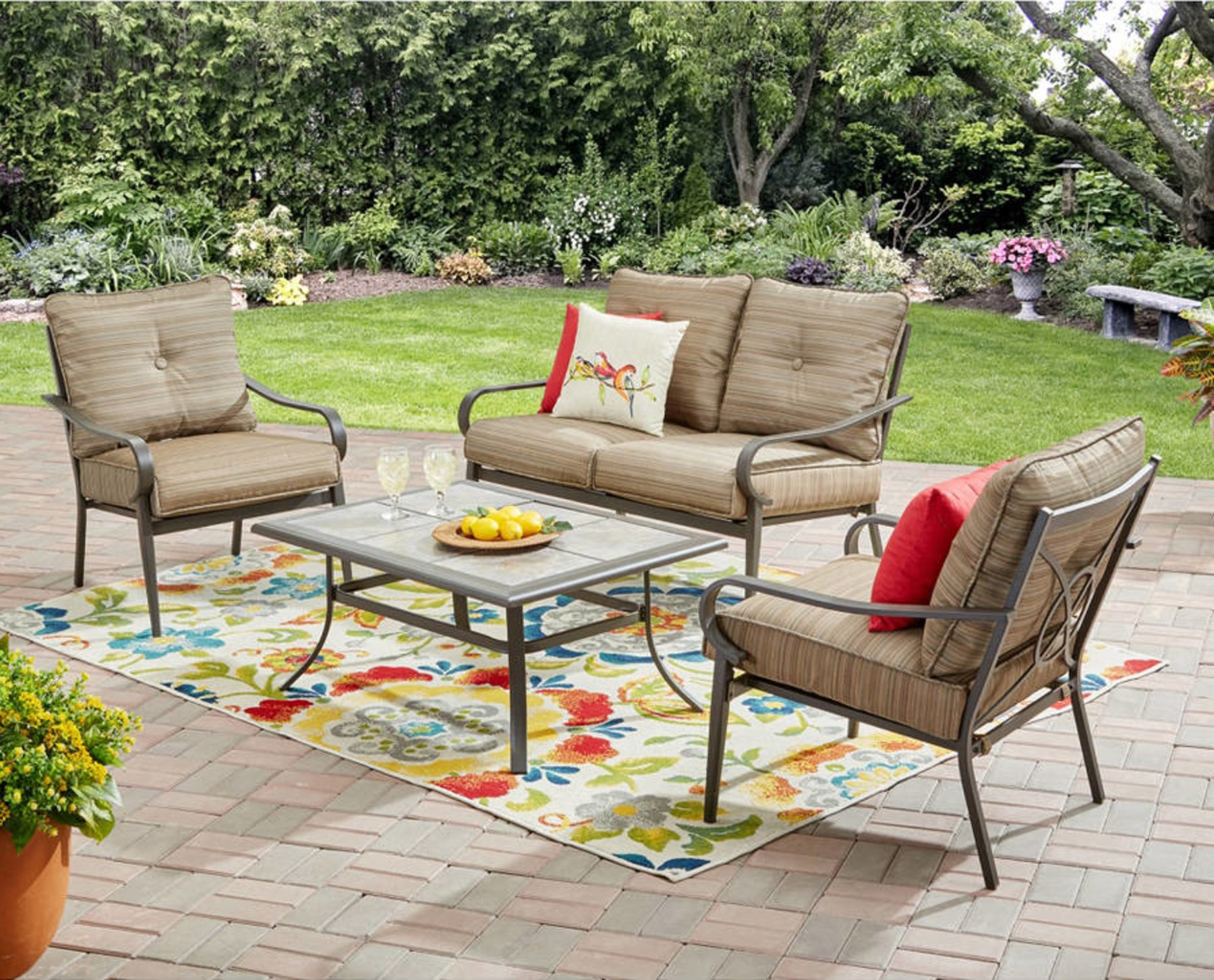 Get Quotations · Mainstays Charleston Park 4 Piece Patio Furniture Set,  Brown