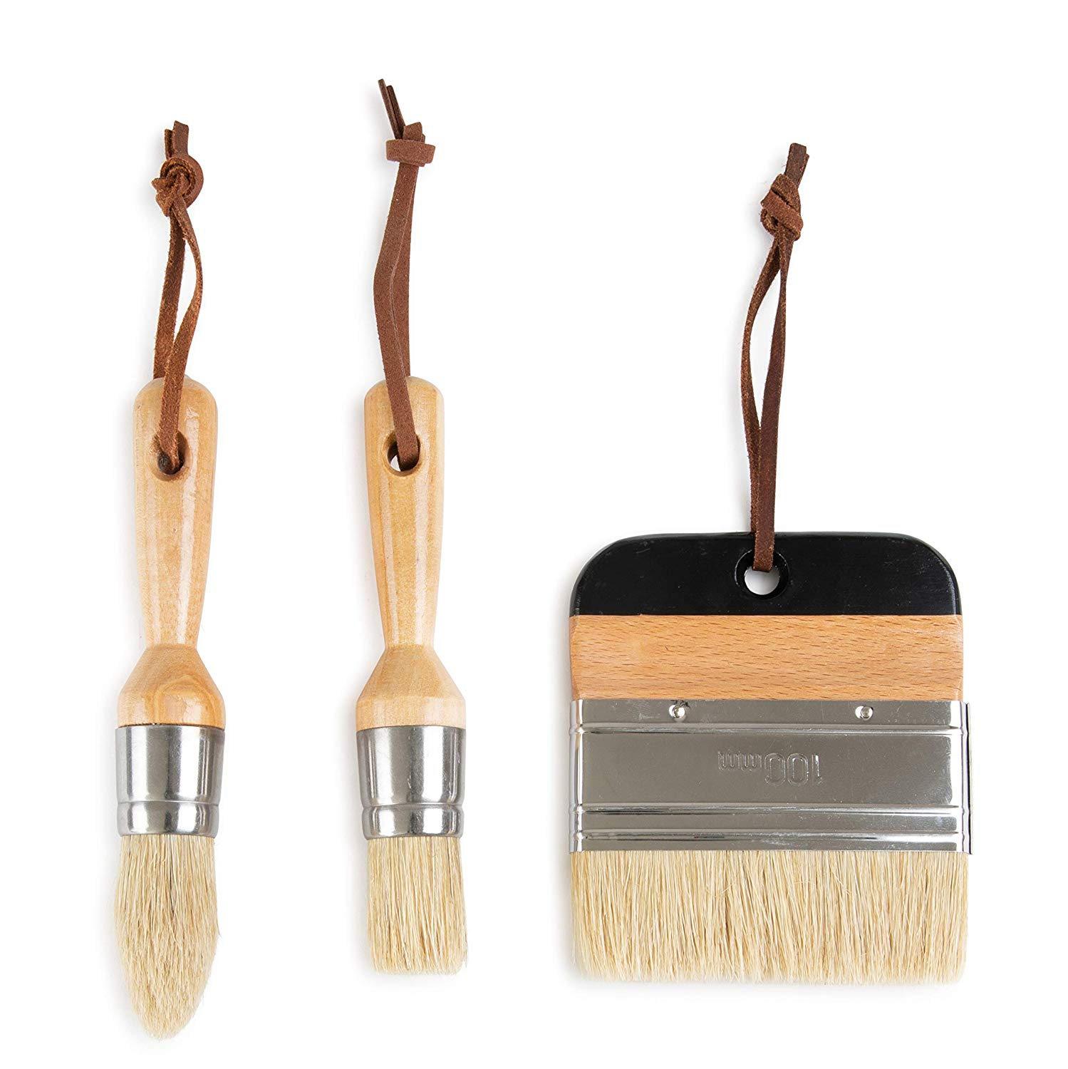 3 Piece Paint Brush Set by DIYARTZ, Perfect Chalk and Wax Paint, Natural Bristles, Thick and Durable