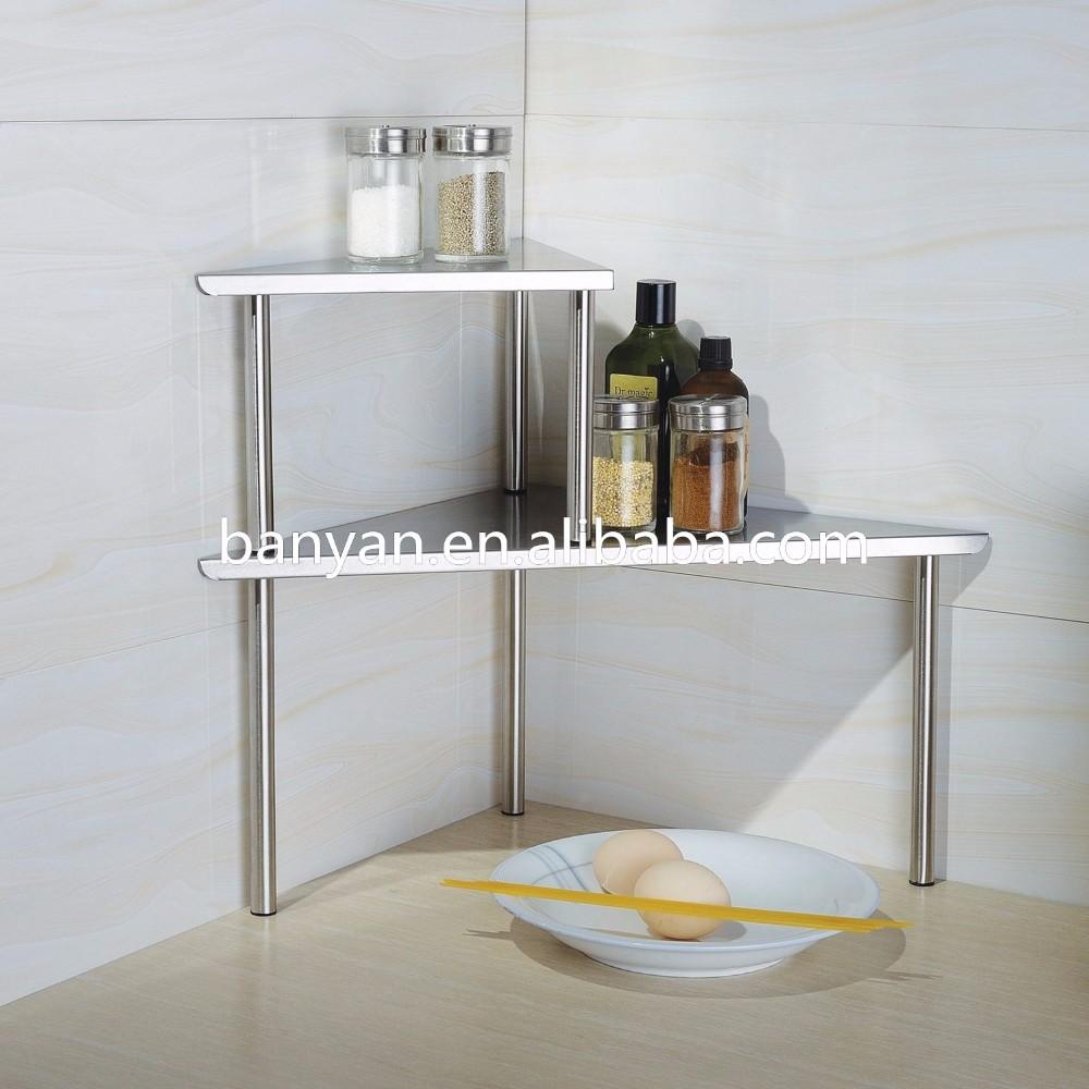 Stainless Steel Triangle Corner Shelf Two Tier Kitchen Utensil Corner Shelf  - Buy Stainless Steel Kitchen Corner Shelf,Kitchen Corner Shelf,Triangle ...
