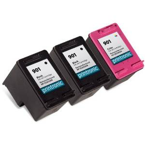 Printronic Remanufactured Ink Cartridge Replacement for HP 901B HP 901C (2 Black, 1 Color)