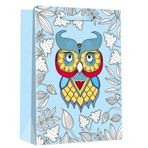 Alibaba China custom logo owl pattern paper shopping bags packaging manufactures christmas birthday paper gift bag