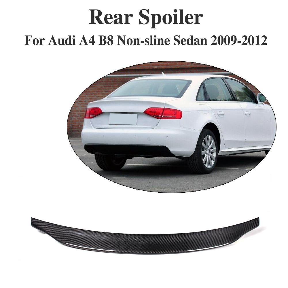 JCSPORTLINE Carbon Fiber Rear Trunk Spoiler Lip Wing for Audi A4 B8 Non-sline Sedan 2009-2012