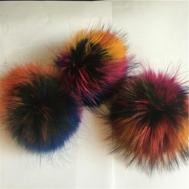 Promotional gift cute raccoon fur pompom