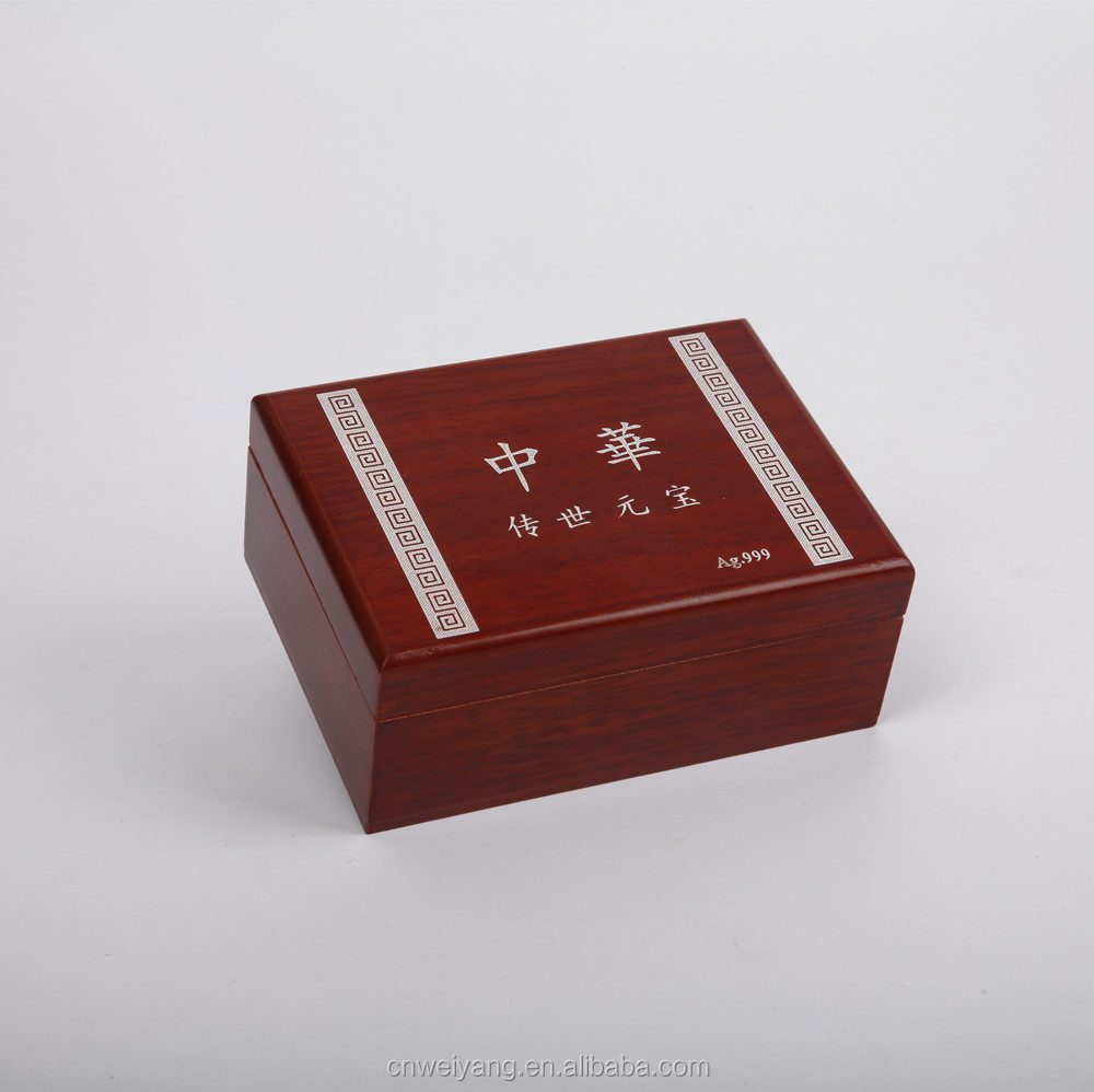 Custom small wooden gift box coin gold silver bullion packaging box