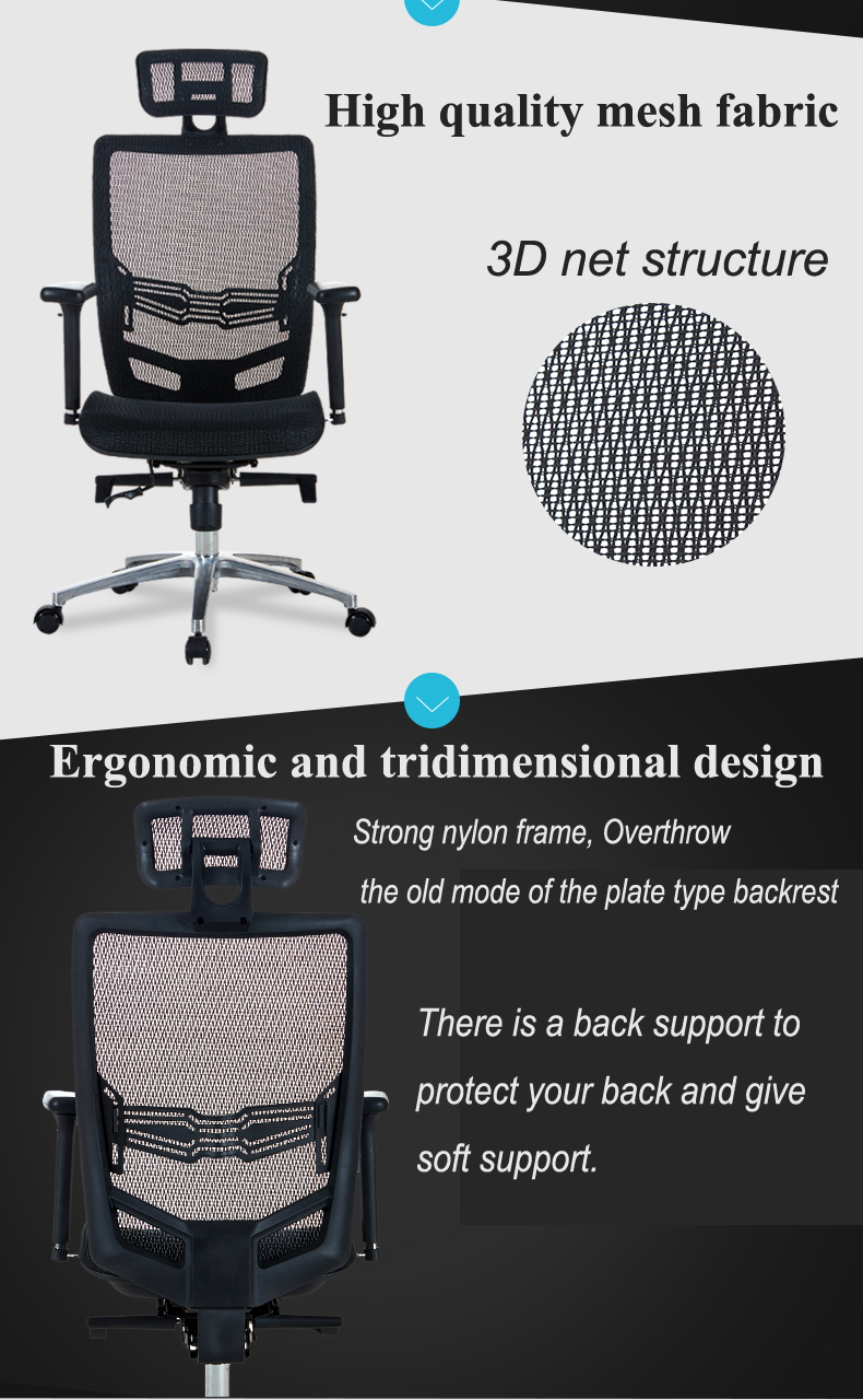B04# High back executive office seat, office furniture type mesh chair, wide seat and mesh back office chairs