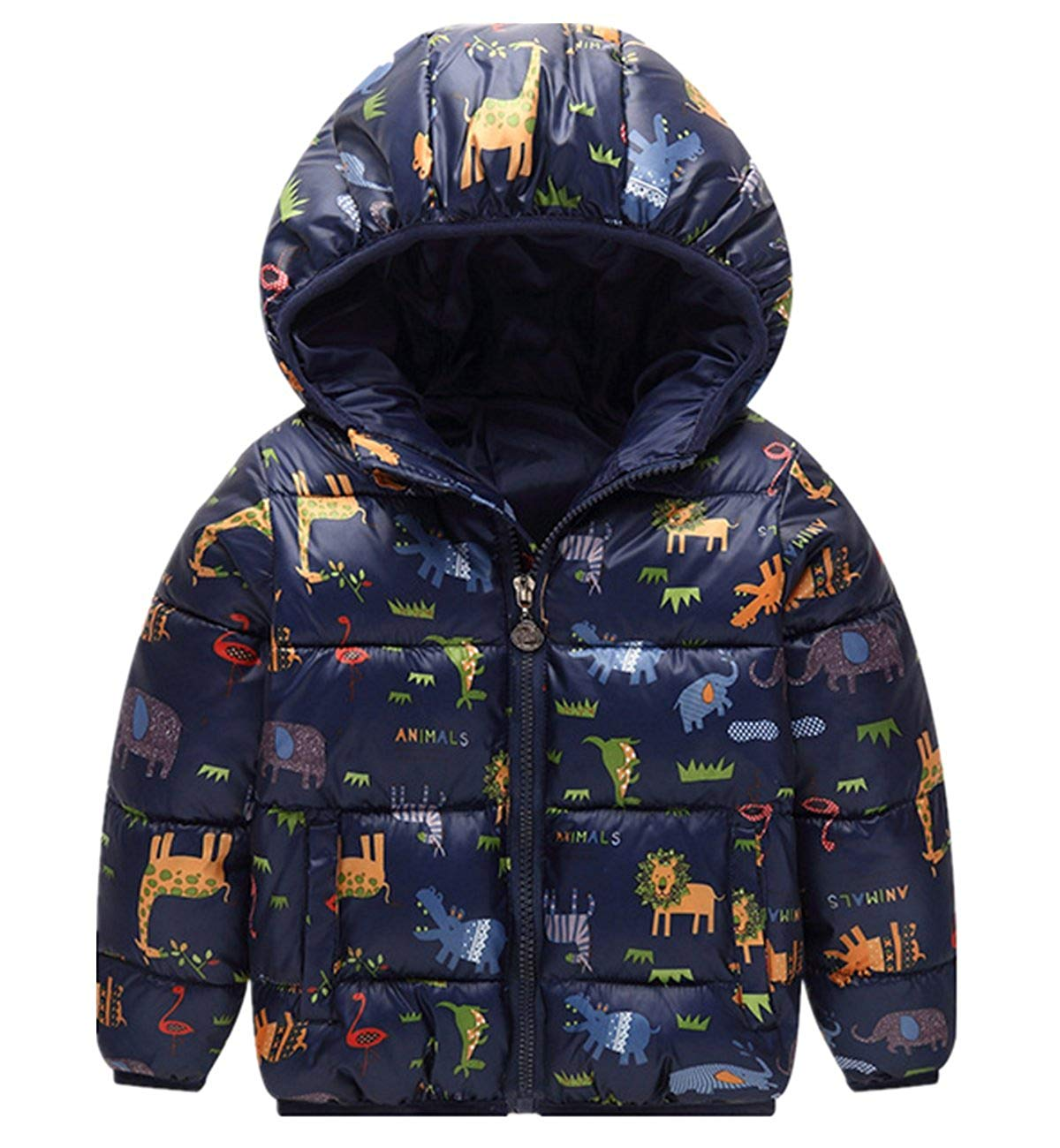 c0c93db30a87 Get Quotations · Kids Boys Girls Cartoon Giraffe Printed Hoodie Down Coat  Lightweight Warm Hooded Down Snowsuit