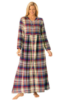 Women\'s Plus Size Flannel Snap Front Lounger Nightgown,Women\'s ...