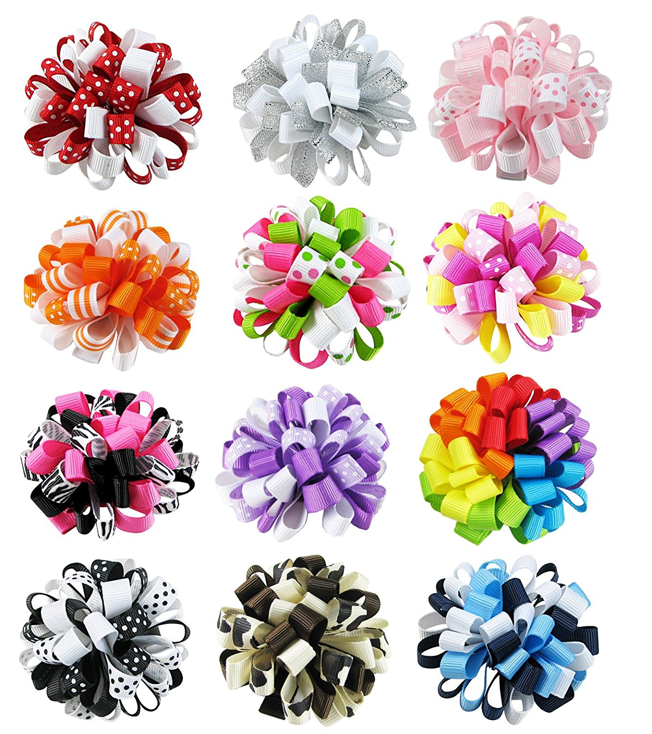 """HipGirl 12pc 2.5"""" Loopy Puff Hair Bow Clip, Barrette.Grosgrain Ribbon Alligator Clip For Girl Baby Teen Kid Toddler Adult.For Pigtails,Ponytails.Assorted Beauty Accessories,Match Outfits,Dresses,Set 1"""