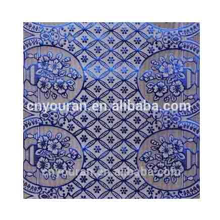 Hot selling water proof PVC lace polyester microfiber tablecloth 50cm*20m in rolls XL-019 blue-stamp
