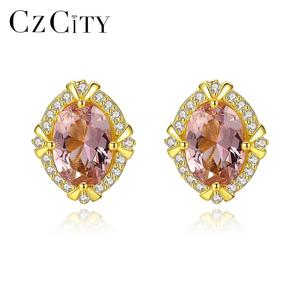 CZCITY Delicate Geometric Gold Plated Earrings Sterling Silver 925 Stud Earring Jewelry